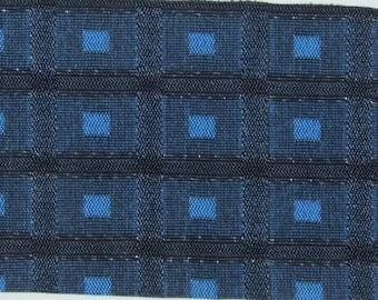 REMNANT 1961 Plymouth upholstery fabric turquoise black cubes metallic thread