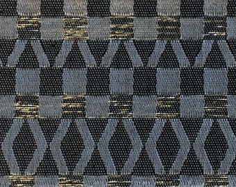 BTY mid century auto upholstery black silver and gold