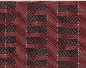 BTY mid century 1962 Ford upholstery woven plastic red plaid