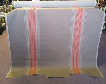 BTY vintage 1985 Renault panel upholstery fabric tan and orange stipes