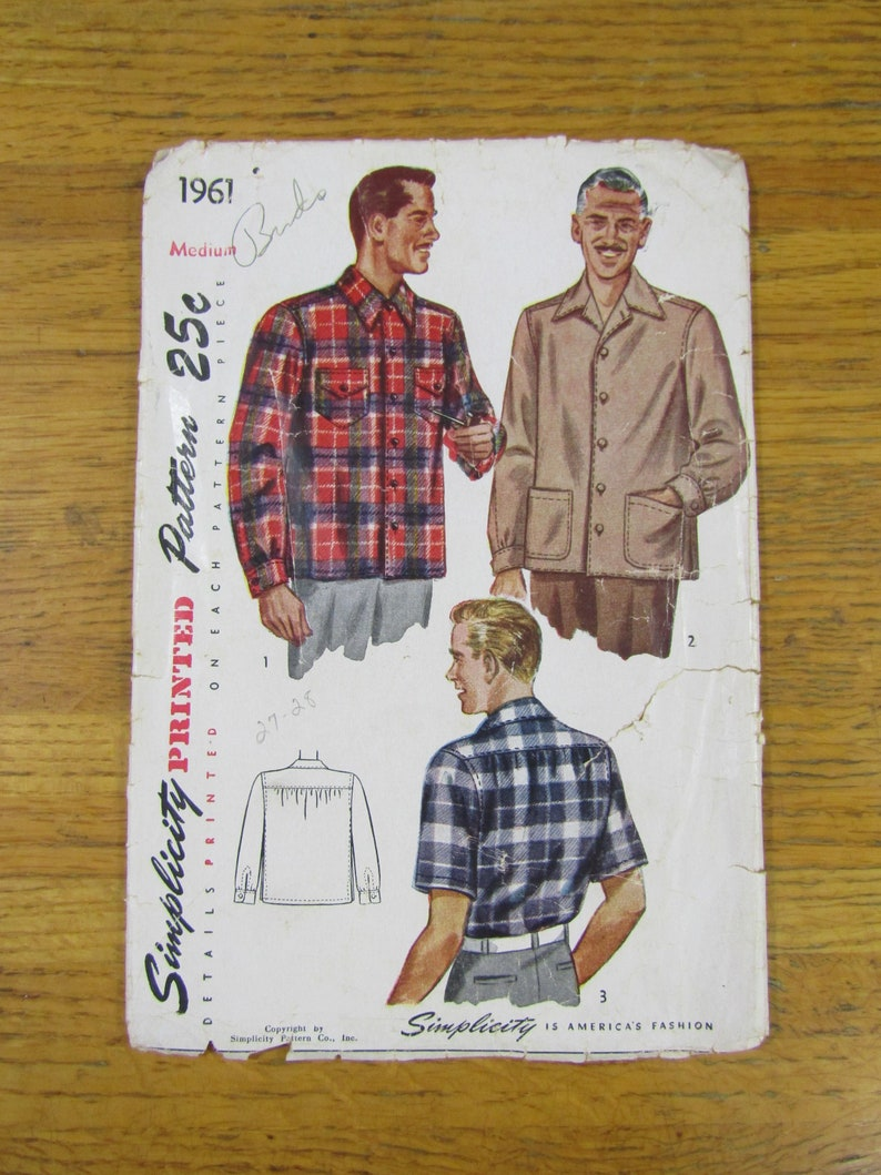 Taille Années 1961 Patron 1940 Simplicity Chemise Homme Pour Des Moyenne En 0vONnwm8