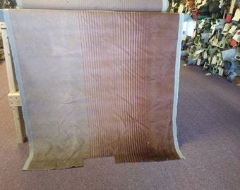 BTY vintage Plymouth velour panel upholstery tan and orange stripe