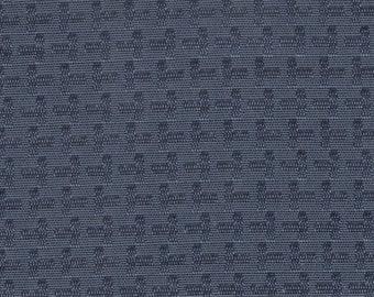 1 1/4 yards mid century 1966 Oldsmobile dark teal geometric pattern
