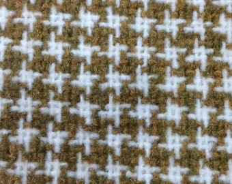 BTY vintage auto upholstery houndstooth white and mustard 1979