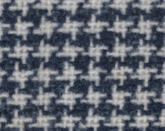 BTY vintage 1980 Buick Skylark blue and white woven houndstooth