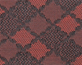 BTY mid century red and black woven plastic upholstery