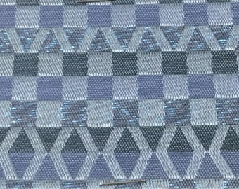 ROLL END 1.25 yards 1950 auto upholstery fabric blues geometric abstract