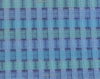 BTY mid century auto upholstery fabric purple blue greens squares 1964