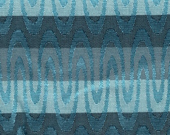 2 1/2 Yards 1962 Chevrolet Turquoise and Gray Stiped Auto Upholstery
