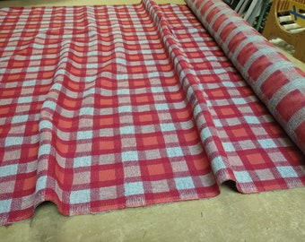 BTY 1977 Chevrolet Red, Orange, and Gray Plaid Auto Upholstery