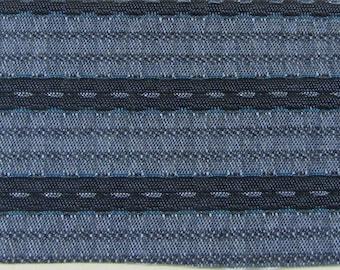 ROLL END 1.5 yards 1961 Pontiac upholstery fabrics blue stripes