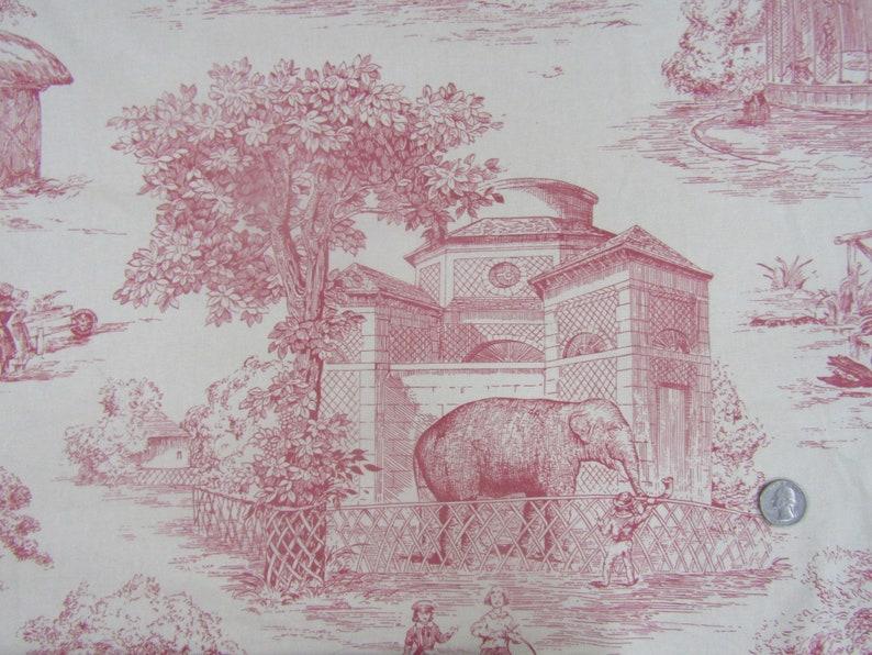 BTY P Kaufmann Victorian Zoo Toile in dark pink