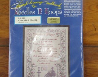Vintage embroidery kit Needles 'N Hoops Stither's Prayer Sampler