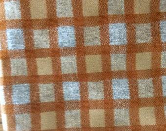 2 yards orange and grey plaid 1977 Chevy Van upholstery fabric