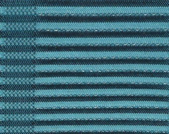 BTY mid century 1961 Chevrolet turquoise striped upholstery metallic thread