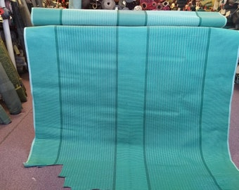 CLEARANCE! BTY mid century cool 1950s green striped panel with lots of thread flaws