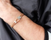 hook leather bracelet, fish hook bracelet, leather bracelet, nautical bracelet, silver hook bracelet, nautical jewelry, men 39 s bracelet