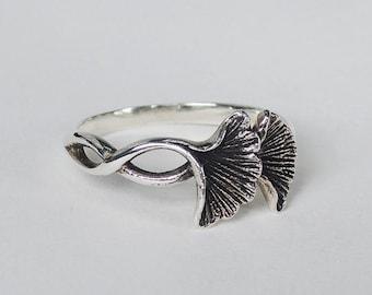 Sterling Silver Ginkgo Leaf Ring-Ginkgo Biloba Ring-Statement Ginkgo Ring-Botanical Ring-Bold Rings
