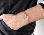 round hook leather bracelet, hook leather bracelet, hook bracelet, leather bracelet, nautical bracelet, silver hook bracelet, men bracelet