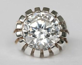 6b7d59a96c3a9c STATEMENT IRCON RING, anello di zircon, anello in argento sterling per le  donne, anello di promessa, anello bianco di zircon, grande anello di pietre  ...