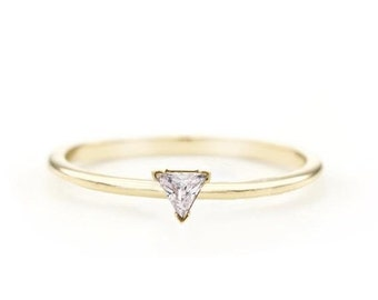 14k trillion ring, diamond ring, trillion diamond cut, trillion ring, engagement ring, wedding ring, solitaire ring, anniversary ring