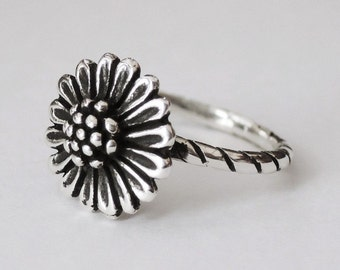 sunflower ring, sterling silver ring, sun flower ring, flower rings, floral ring, boho ring, hippie ring, silver flower, bohemian jewelry