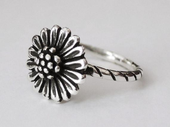 220b9f9db Sunflower ring sterling silver ring sun flower ring flower | Etsy