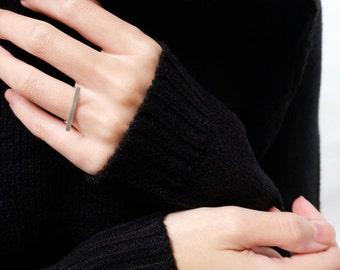 bar ring, silver bar ring, minimalist ring, geometric ring, stacking ring, modern ring, simple ring, everyday ring, minimal jewelry