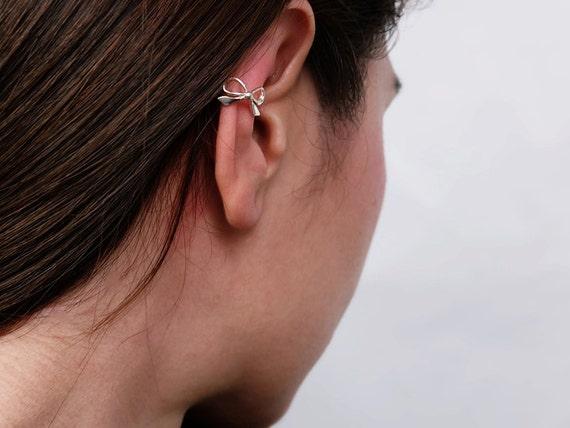 Left Ear Slide-on No piercing Sterling Silver Frog Ear Wrap Cuff Earring
