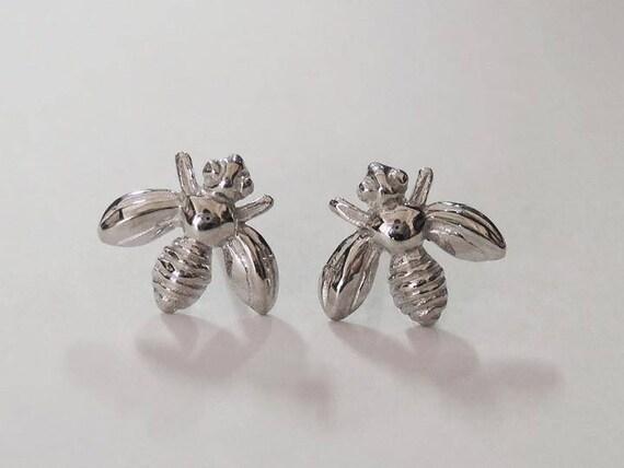 7597edd47 Bee stud earrings tiny sterling studs bee earrings honey | Etsy