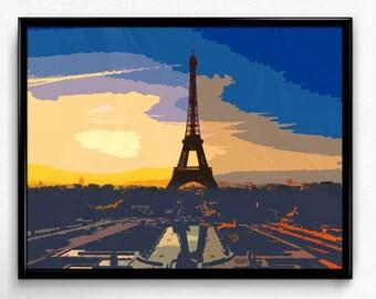 Landscape Art Print, Modern Eiffel Tower Landscape Wall Art, Mid Century Modern Art Print, Minimalist Poster Decor, Eiffel tower Art