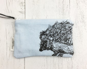 Hedgehog Purse / Wildlife gift / Gift for her / Nature lover Gift / Animal Gift / Handmade purse / Hand screen printed