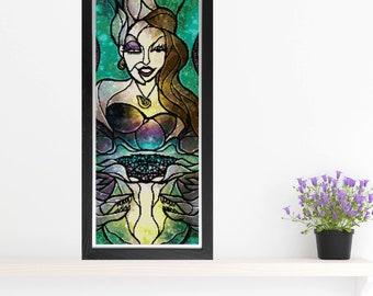 Ursula Cross Stitch Pattern - Stained Glass - Mandie Manzano Art