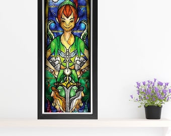 Peter Pan Cross Stitch Pattern - Stained Glass - Mandie Manzano Art