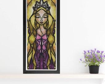 Rapunzel Cross Stitch Pattern - Stained Glass - Mandie Manzano Art
