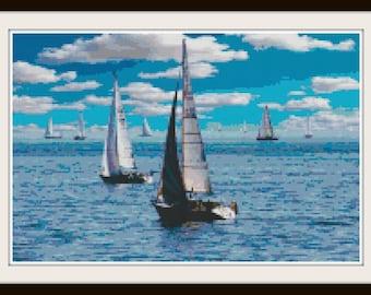 Nautical Cross Stitch - Ocean Pattern - Sail boat Cross Stitch - PDF Download