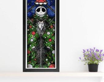 Jack Skellington Cross Stitch Pattern - Stained Glass - Mandie Manzano Art