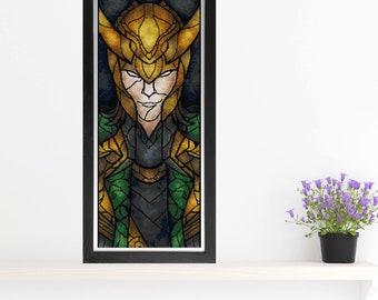 Loki Cross Stitch Pattern - Stained Glass - Mandie Manzano Art