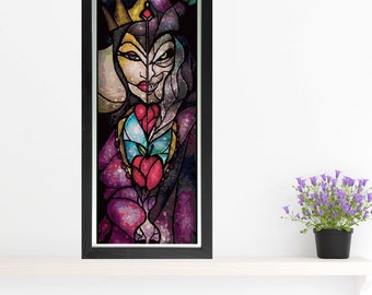Evil Queen Cross Stitch Pattern - Stained Glass - Mandie Manzano Art