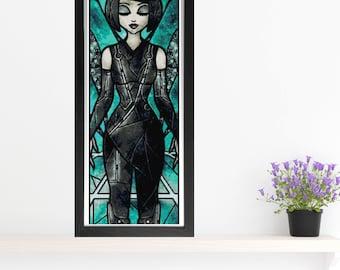 Quorra Cross Stitch Pattern - Stained Glass - Mandie Manzano Art