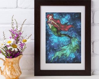 Ariel Cross Stitch Pattern - Mandie Manzano Art - Little Mermaid - PDF Download
