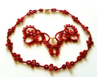 Tatted Rhapsody Pendant and Double Scoop Necklace chain set in Red / Interchangeable necklace