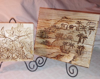 Pyrographed boxes wood tile