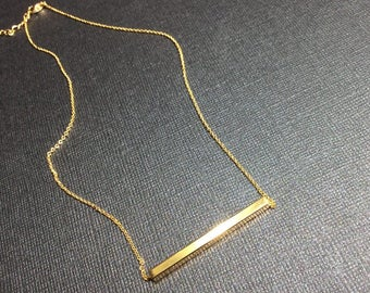 SIMPLE GOLD Bar Necklace, Tiny, Gold, Layering Gold Necklace Minimalist, Womens Small Modern Short Shiny Great Gift Retro Fun Jewelry NYC