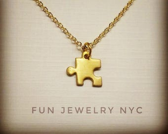 CUTE PUZZLE Piece Necklace, Tiny, Layering Gold Necklace Minimalist, Womens Small Modern Short Shiny Great Gift Retro Fun Jewelry NYC