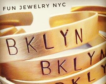 BROOKLYN BRACELET! Brass Bangle, Personalized Mens Gift, Boyfriend Gift, Girlfriend, Name, Bklyn, Cuff Gold Matte, Mcm Fun Jewelry NYC