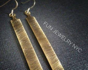 NOHO MODERN Long Gold Drop Earrings Brass Dangle Metal Minimalist Women Handmade Bar Surgical Steel Hooks Geometric Fun Jewelry
