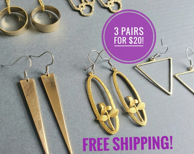 3 PAIRS For 20! CUTE GOLD Earrings