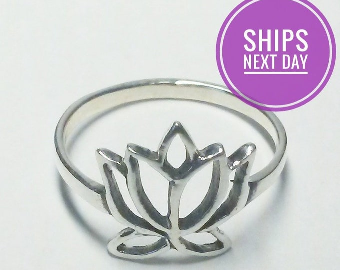 Featured listing image: LOTUS FLOWER RING! Sterling Silver
