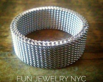 MINIMALIST MESH Ring! Unisex Modernist  Women's Mens Simple Stainless Steel Gift